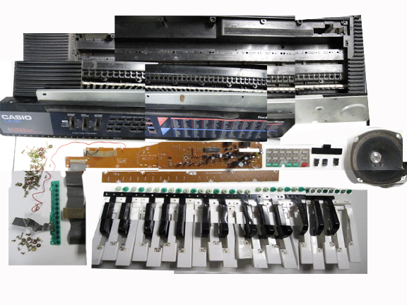 Part of an electric keyboard