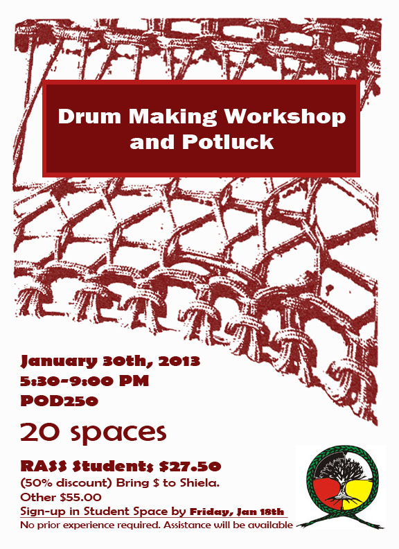 Flyer for Drum-making workshop and Potluck