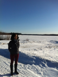 In front of rapids in Fort Fitzgerald, Alberta